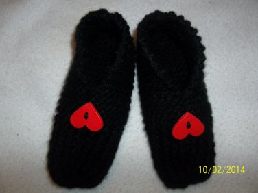 Women's Knitted Slippers-Black/Red Hearts