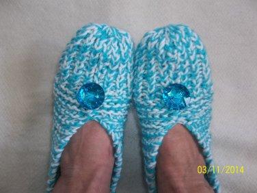 Women's Aqua Blue/White Knitted Slippers