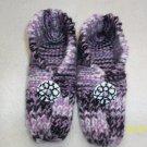 Women's Handknitted Slippers-Purple Zebra