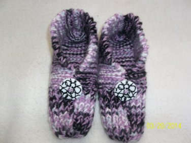 Women's Handknitted Slippers-Purple Zebra