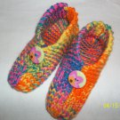 Women's Multi Colored Handknitted Slippers Size M-((8-9 1/2)