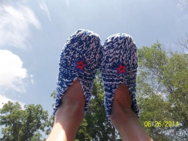 Women's 4th Of July Knitted Slippers-Size 8-10