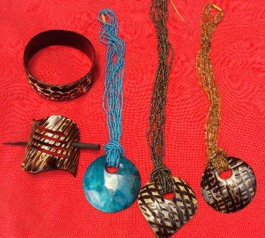 Beaded necklace with bone pendant