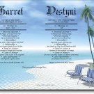 Paradise 1 or 2 Name Personalized Gift First Name Meaning Print