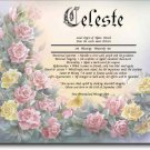 Rose Cluster Flowers Personalized Gift First Name Meaning Print