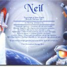 Space Astronaut Personalized Gift First Name Meaning Print