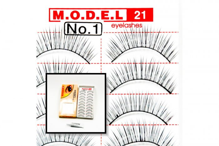 False Fake Eye Lashes Style No. 1 - 10 Pairs of 100% Human Hair Lashes with tube of Glue