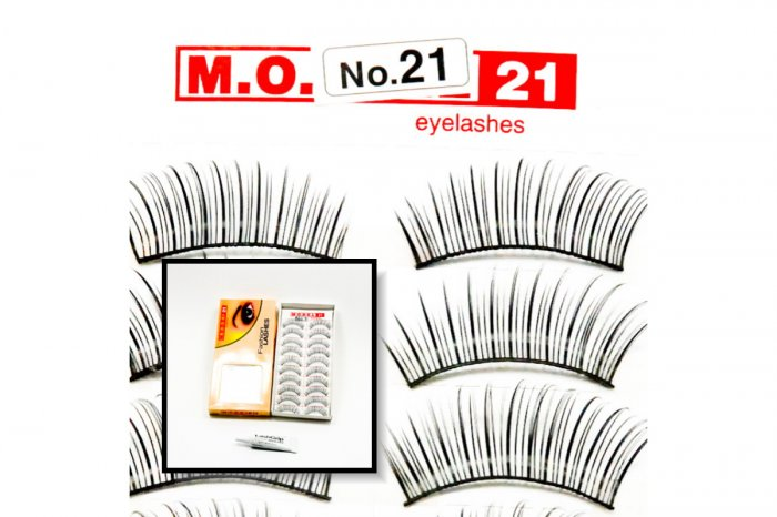 False Fake Eye Lashes Style No. 21 - 10 Pairs of 100% Human Hair Lashes with tube of Glue