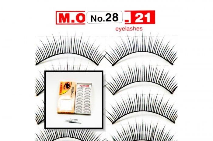 False Fake Eye Lashes Style No. 28 - 10 Pairs of 100% Human Hair Lashes with tube of Glue