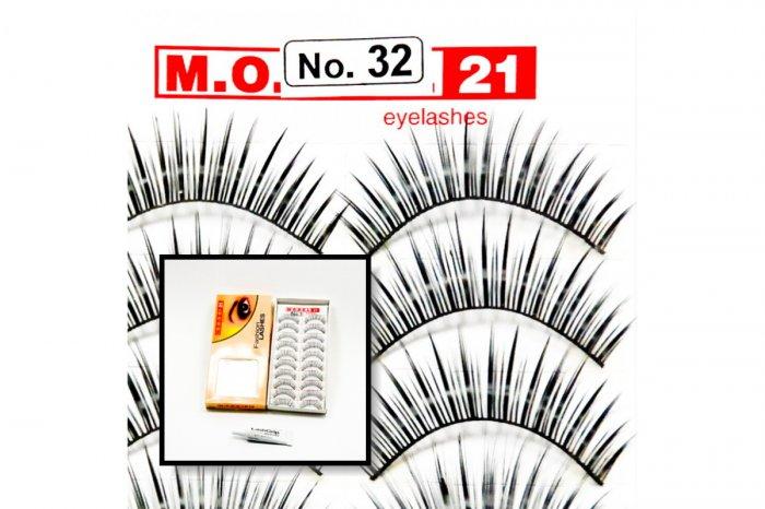 False Fake Eye Lashes Style No. 32 - 10 Pairs of 100% Human Hair Lashes with tube of Glue