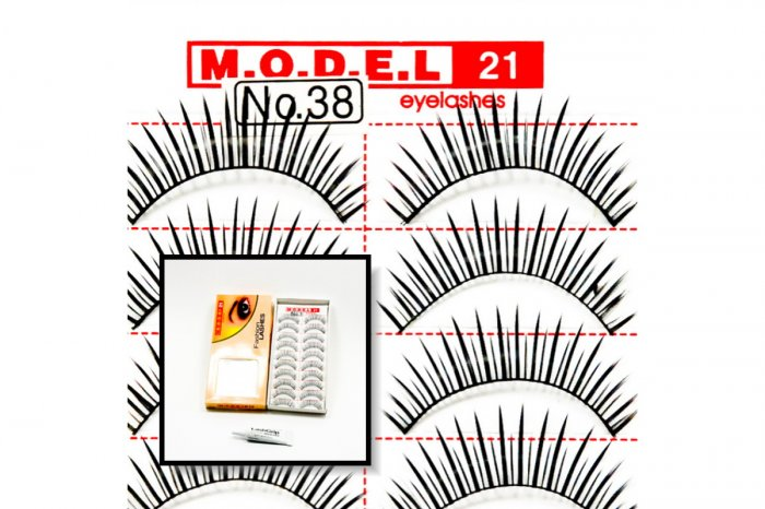 False Fake Eye Lashes Style No. 38 - 10 Pairs of 100% Human Hair Lashes with tube of Glue