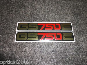 SUZUKI 1977 1978 1979 GS750E GS-750E GS750 GS-750 SIDE COVER DECAL MIRROR GOLD