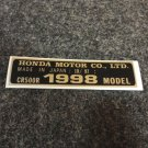 HONDA CR-500R 1998 MODEL TAG HONDA MOTOR CO., LTD. DECALS