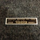 HONDA CR-80R 1989 MODEL TAG HONDA MOTOR CO., LTD. DECALS