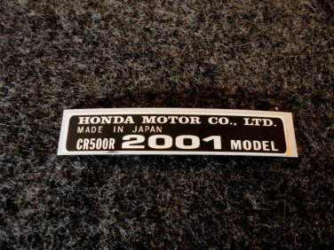 HONDA CR-500R 2001 MODEL TAG HONDA MOTOR CO., LTD. DECALS