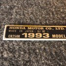 HONDA CR-250R 1993 MODEL TAG HONDA MOTOR CO., LTD. DECALS