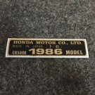 HONDA CR-500R 1986 MODEL TAG HONDA MOTOR CO., LTD. DECALS