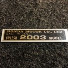 HONDA CR-125R 2003 MODEL TAG HONDA MOTOR CO., LTD. DECALS