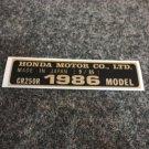 HONDA CR-250R 1986 MODEL TAG HONDA MOTOR CO., LTD. DECALS