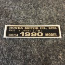 HONDA CR-125R 1990 MODEL TAG HONDA MOTOR CO., LTD. DECALS