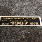 HONDA CR-250R 1987 MODEL TAG HONDA MOTOR CO., LTD. DECALS