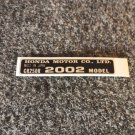 HONDA CR-250R 2002 MODEL TAG HONDA MOTOR CO., LTD. DECALS
