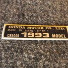 HONDA CR-500R 1993 MODEL TAG HONDA MOTOR CO., LTD. DECALS