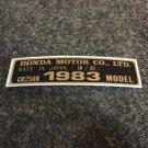HONDA CR250R 1983 MODEL TAG HONDA MOTOR CO., LTD. DECALS
