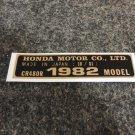 HONDA CR480R 1983 MODEL TAG DECAL HONDA MOTOR CO., LTD. DECALS