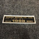 HONDA CR-125R 1998 MODEL TAG HONDA MOTOR CO., LTD. DECALS