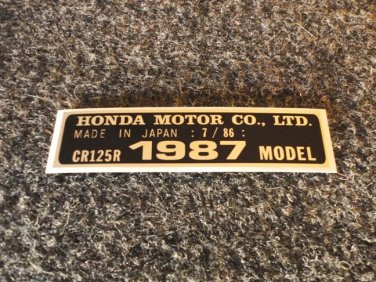 HONDA CR-125R 1987 MODEL TAG HONDA MOTOR CO., LTD. DECALS
