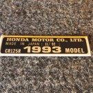 HONDA CR-125R 1993 MODEL TAG HONDA MOTOR CO., LTD. DECALS