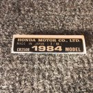 HONDA CR-250R 1984 MODEL TAG HONDA MOTOR CO., LTD. DECALS