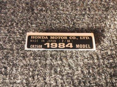 HONDA CR-250R 1984 MODEL TAG HONDA MOTOR CO., LTD. DECALS