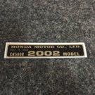 HONDA CR-500R 2002 MODEL TAG HONDA MOTOR CO., LTD. DECALS