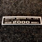 HONDA CR-250R 2000 MODEL TAG HONDA MOTOR CO., LTD. DECALS