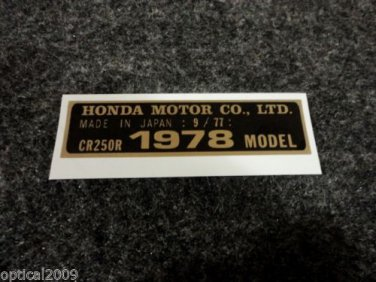 HONDA CR-250R 1978 MODEL TAG HONDA MOTOR CO., LTD. DECALS