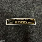 HONDA CR-250R 2005 MODEL TAG HONDA MOTOR CO., LTD. DECALS
