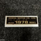 HONDA CR-125R 1978 MODEL TAG HONDA MOTOR CO., LTD. DECALS