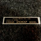 HONDA CR-85R 2007 MODEL TAG HONDA MOTOR CO., LTD. DECALS