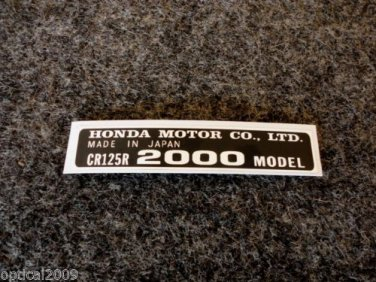 HONDA CR-125R 2000 MODEL TAG HONDA MOTOR CO., LTD. DECALS