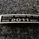 HONDA CRF-450X 2011 MODEL TAG HONDA MOTOR CO., LTD. DECAL