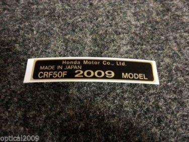 HONDA CRF-50F 2009 MODEL TAG HONDA MOTOR CO., LTD. DECALS