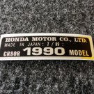 HONDA CR-80R 1990 MODEL TAG HONDA MOTOR CO., LTD. DECALS
