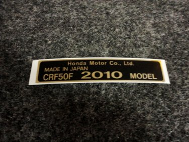 HONDA CRF-50F 2010 MODEL TAG HONDA MOTOR CO., LTD. DECALS