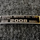 HONDA CRF-450X 2008 MODEL TAG HONDA MOTOR CO., LTD. DECALS