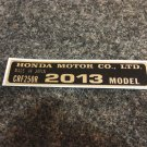HONDA CRF-250R 2012 MODEL TAG HONDA MOTOR CO., LTD. DECALS