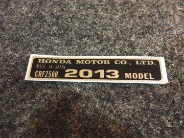 HONDA CRF-250R 2012 MODEL TAG HONDA MOTOR CO., LTD. DECALS