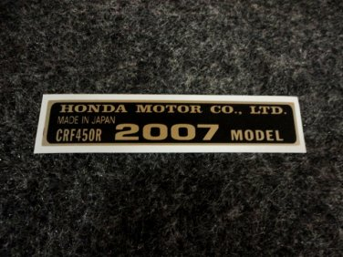 HONDA CRF-450R 2007 MODEL TAG HONDA MOTOR CO., LTD. DECALS