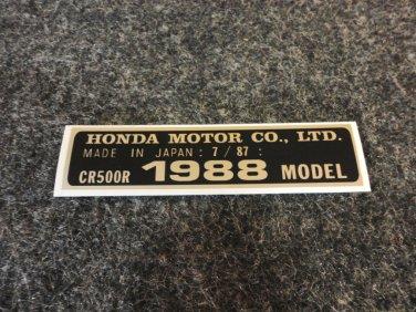 HONDA CR-500R 1988 MODEL TAG HONDA MOTOR CO., LTD. DECALS